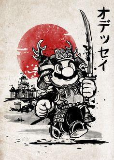 'Samurai mario odyssey' T-Shirt by NemiMakeit Nintendo Characters, Video Game Characters, Mario Tattoo, Super Mario Art, Star Wars Tattoo, Cartoon Sketches, Mario And Luigi, Video Game Art, Cool Art