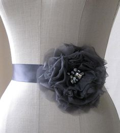 Single Silk Flower And Ribbon Sash In Slate by bluesugarbridal, $86.00