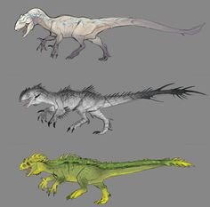 Fan made Indominus Rex strains based off the concept art of Hyperendocrin, Neurotenic, and Tissoplastic strains from The Isle. Indominus Strains (The Isle) Prehistoric Wildlife, Prehistoric Creatures, Dinosaur Drawing, Dinosaur Art, Creature Feature, Creature Design, Fantasy Creatures, Mythical Creatures, Godzilla