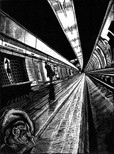 ARTFINDER: View Subterranea Blackhorse Road by Rebecca Coleman - A handmade wood engraving of a rat's-eye view of Blackhorse Road station, on the Victoria line of the London Underground. Part of my View Subterranea series. Art Prints For Sale, Buy Prints, Linoprint, A Level Art, London Underground, Illustration, London Art, Wood Engraving, Linocut Prints