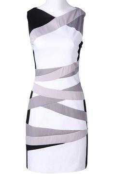 White / Black / Silver Striped Bodycon Dress