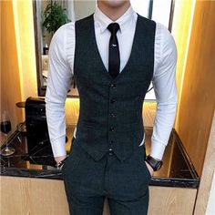 Latest Clothing, Accessories, Jewelry for Men and Womens – CBIC Inc. 2018 New Pure Color Men's Suit Vests Fashion Casual Waistcoat Men Wine Red Dark Gray Khaki Light Gray Card Green Size Blazer Outfits Men, Casual Outfits, Fashion Outfits, Mens Suit Vest, Mens Suits, Waistcoat For Mens, Gilet Costume, Mode Costume, Mens Fashion Suits