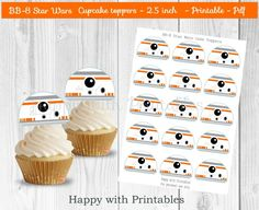 BB-8 Star Wars Toppers - BB8 cupcake toppers - Star Wars toppers - Star Wars party - Star Wars The Force Awakens cake toppers by HappywithPrintables on Etsy