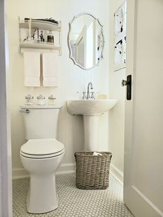 Check out this Powder Room Makeover featuring charming vintage cottage bathroom features and original hex tile floor. Brass Bathroom Faucets, Brass Faucet, Sink Faucets, Small Bathroom Window, Tiny Powder Rooms, Hex Tile, Pedestal Sink, The Help, Tile Floor