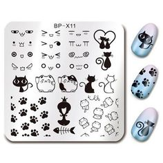 BornPretty Square Nail Art Stamp Template Cute Cat Design Paw Image Plate >>> You can find more details by visiting the image link. (This is an affiliate link) Halloween Nail Designs, Halloween Nails, Flower Nail Designs, Nail Art Designs, Nagel Stamping, Born Pretty, Nail Art Stamping Plates, Cat Flowers, Image Plate