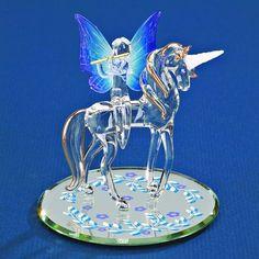 Glass Baron Unicorn with Fairy Figurine