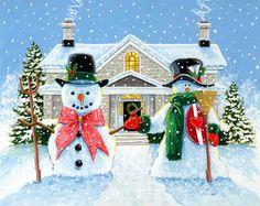 American Snowan Gothic by Richard De Wolfe ~ winter ~ Christmas Little Christmas, Christmas Snowman, Vintage Christmas, Christmas Holidays, Christmas Ornaments, Christmas Stuff, Merry Christmas, Xmas, Illustration Noel