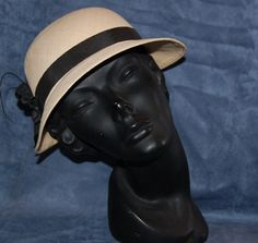 Vintage Panama Made Womens Straw Hat with Black by AntiqueMeUp, $19.99