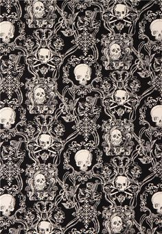 Tissu Oxford épais Skullduggery Alexander Henry noir, crânes - Tissus Têtes de mort - Tissus - boutique kawaii modeS4u