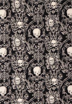skull heavy oxford fabric black Skullduggery Alexander Henry 3