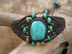 Free Online Micro Macrame Patterns   Natural Turquoise Gemstone Micro Macrame / Bracelet - Hand Made, Eco ...