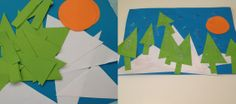 Geometric Snowscape Pictures - great art activity for pre schoolers.  Kids crafts, winter crafts, toddler art