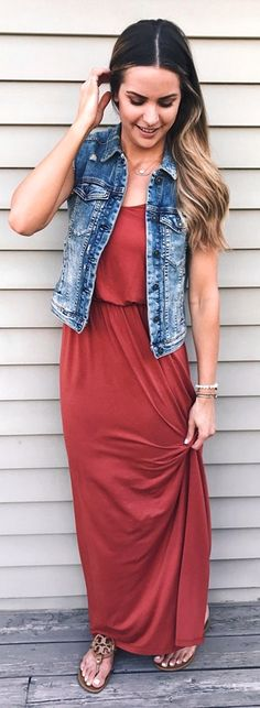 #Summer #Outfits / Denim Vest + Salmon Dress