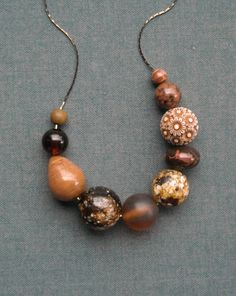 nutmeg necklace  vintage lucite and gunmetal by urbanlegend, $25.00