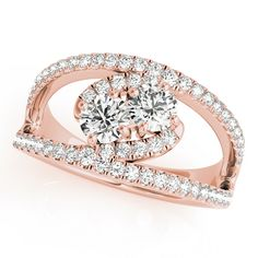 Round Diamond Duo Split Band Swirl Ring in Rose Gold