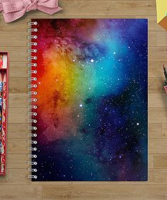 this Stratos Small Spiral-Bound Journal on today!Look at this Stratos Small Spiral-Bound Journal on today! Diy Notebook, Notebook Covers, Galaxy Notebook, Cute School Supplies, Diy School Supplies For Teens Tumblr, Diy Galaxy, School Notebooks, Galaxy Painting, Ideias Diy