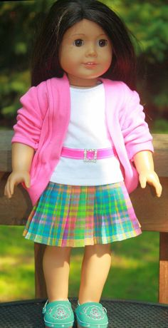 American Girl Doll Clothes Pleated skirt, slouch cardigan, T shirt and clogs