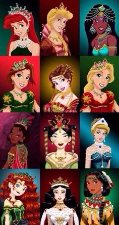 Disney princesses according to era and place they live. I love this. Ariel, Aurora, Jasmine, Rapunzel (after hair cut), Belle, Rapunzel (before hair cut), Tiana, Mulan, Cinderella, Merida, Snow White, Pocahontas.