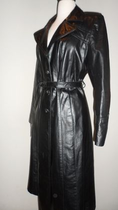 sexy cat woman appeal black  leather trench coat vintage with great detail back medium to large