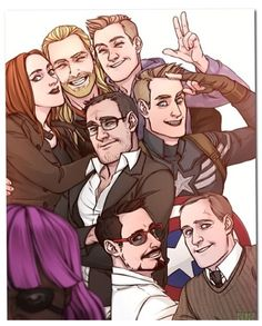 At first glance, I saw just another avenger's selfie fan art. Then I saw Fury's pink wig and started laughing. Marvel Comics, Marvel Heroes, Marvel Characters, Marvel Art, Marvel Images, The Avengers, Avengers Memes, Thor Y Loki, Geeks