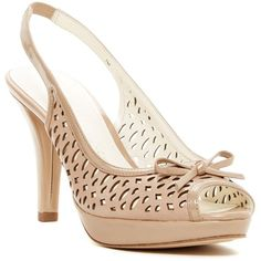 Anne Klein Kristina Laser-Cut Heel Sandal ($47) ❤ liked on Polyvore featuring shoes, sandals, high heel platform sandals, leather heeled sandals, platform sandals, high heel sandals and platform shoes