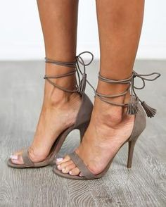 Suede heel with ankle ties and tassel detail in Taupe - Belle Couture Boutique.
