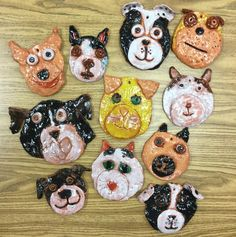A great looking batch of pet portraits fresh out of the kiln this morning by grades 2&3 @furkidsatlanta #petpARTners