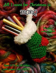 "Skip the lines and Black Friday shopping madness. MONQ makes the perfect stocking stuffers! GET 10% OFF with code ""KD10"" RIGHT NOW at MONQ.com   #monq #therapeutic #air  #essentialoils #organic #natural #aromatherapy #vape #vaping #vapelife #vapecommunity  #christmas #christmastime  #gift #present #mini #stockings  #crochet #crocheted #crocheting  #hauteandhookd"