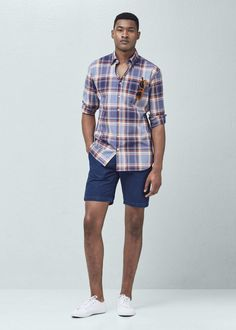 Slim-fit madras check shirt