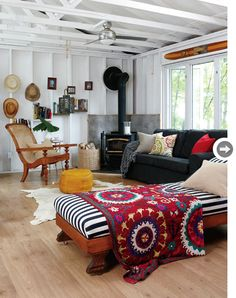 cozy, rustic with vintage color