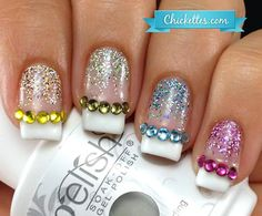 rainbow rhinestones glitter french nails