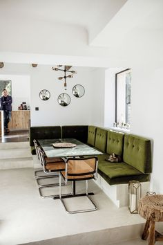 Kitchen table with green bench