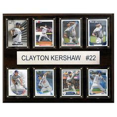 C and I Collectables MLB 15W x 12H in. Clayton Kershaw Los Angeles Dodgers 8 Card Plaque - 1215KERSHAW8C