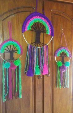 Árboles de la vida Crochet Wall Art, Crochet Tree, Yarn Wall Art, Crochet Wall Hangings, Crochet Cactus, Crochet Home Decor, Crochet Mandala, Crochet Yarn, Yarn Crafts