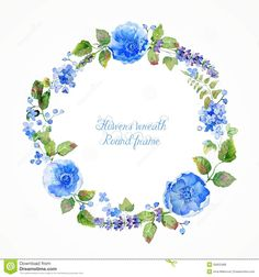 Round Frame Of Watercolor Blue Flowers And Berries. Stock ...