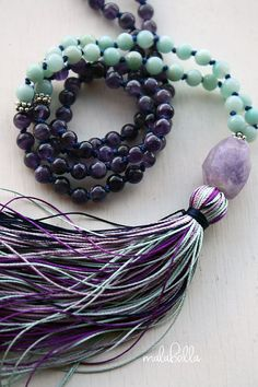Nights Dream Mala  Hand Knotted Amethyst by MalabellaJewelry