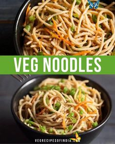 Veg Noodles Vegetable noodles are a tasty Indo-Chinese dish that is very easy to make and can be made with whatever vegetables you have available in your kitchen! This stir fried Chinese Indian fusion dish can be mild or as spicy as you'd like it just by adjusting the amount of chili sauce you add to it. Check out how to make this quick and easy veg noodle recipe today! #IndoChinese #vegetarian #Indianfusion #dinner #vegetables<br> An indo Chinese stir fried preparation of vegetable noodles. Veg Noodles Recipe, Vegetable Noodles, Recipes With Noodles Easy, Vegetarian Stir Fry Noodles, Chinese Noodle Recipes, Maggi Recipes, Spicy Recipes, Veg Food Recipes, Pasta Recipes