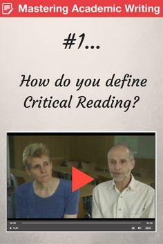 How do you define Critical Reading? How should you approach it? Mike Wallace and Alison Wray authors of Critical Reading and Writing for Postgraduates tell you how to take a sceptical approach to research texts.   https://study.sagepub.com/wallaceandwray3e2/student-resources/chapter-1