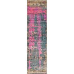 Unique Stockholm Grey/Pink Abstract Runner Rug (2'7 x 10'), Size 3' x 10'