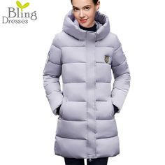 b3685267157 Discount Winter Jacket Women s Warm Cotton Parka Down Jackets Fashion  Zipper Coat Solid Color Hooded Cotton Padded Long Parkas
