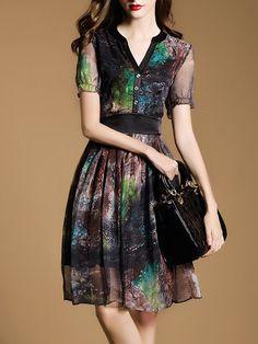 Vintage V Neck A-line Polyester Short Sleeve Midi Dress
