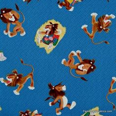 Little Golden Books Tawny Scrawny Lion on blue by Quilting Treasures 21705B