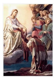 """Our Lady's apparition to St. Simon Stock - In the year 1251, in the town of Aylesford in England, Our Lady appeared to St. Simon Stock, a Carmelite. She handed him a brown woolen scapular and said, """"This shall be a privilege for you and all Carmelites, that anyone dying in this habit shall not suffer eternal fire."""" In time, the Church extended this magnificent privilege to all the laity who are willing to be invested in the Brown Scapular of the Carmelites and who perpetually wear it."""