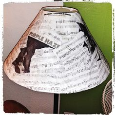 lamp shade re-do with old sheet music by jimi Hendrix Lampshade Redo, Old Sheet Music, Lamp Shades, Home Crafts, Decorating Your Home, Paper Crafts, Jimi Hendrix, Lighting, Purple