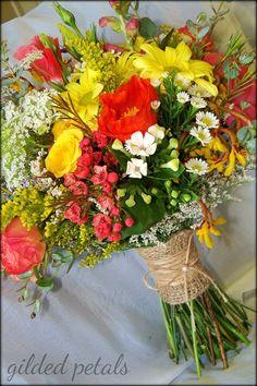Gilded Petals Wildflower Bridesmaid Bouquet @Aubrey Godden lay