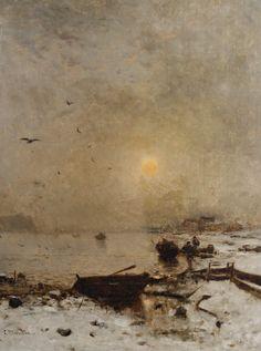 Ludwig Munthe -  Sunset over a lake