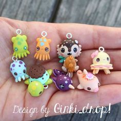 """This is what I've been working on the past two days, a whole crew of Shelly's @inki_drop babies in polymer clay, including Sweetoof, Ika, Starwhal,…"""