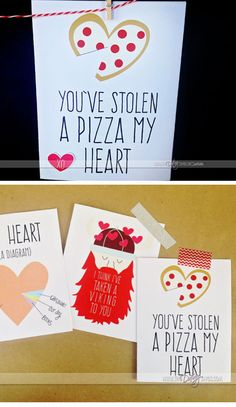 You've Stolen a Pizza My Heart | Easy Valentines Cards for Kids to Make | DIY Valentines Cards for Him