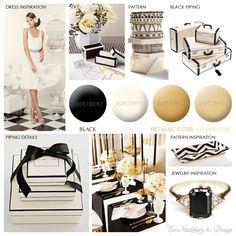 Black Ivory & Gold Inspiration Board by ECRU Stationery & Design
