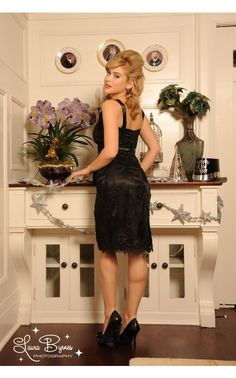 Pinup Girl Clothing- Bombshell Dress in Black Lace | Pinup Girl Clothing